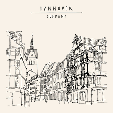 belfry: Hanover, Germany, Europe. Pedestrian street with historic traditional German timbered houses and church belfry. Black and white touristic postcard, poster. Hannover Germany hand lettering, vector illustration Illustration