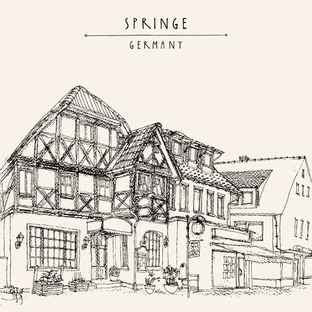 springe: Old town Springe, Germany, Europe. Historical building line art. Freehand drawing. Travel sketch, hand lettering. Vintage postcard, poster template