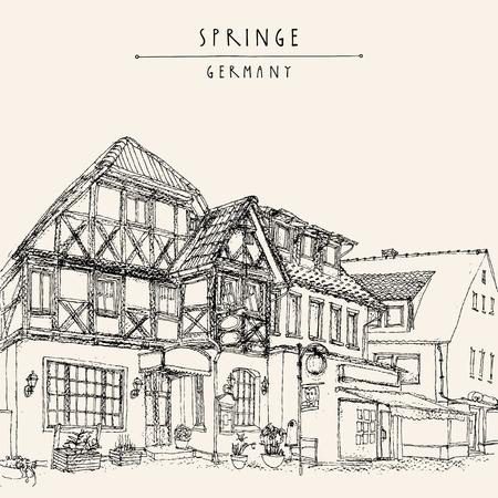 Old town Springe, Germany, Europe. Historical building line art. Freehand drawing. Travel sketch, hand lettering. Vintage postcard, poster template