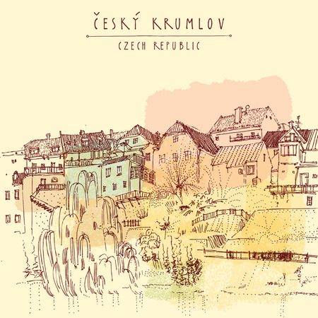 Bohemian Crumlaw Cesky Krumlov, Czech republic, Europe. Artistic illustration of old center. Historical houses, river, trees. Travel sketchy drawing, hand lettered title. Postcard poster template, vector illustration Stock Illustratie