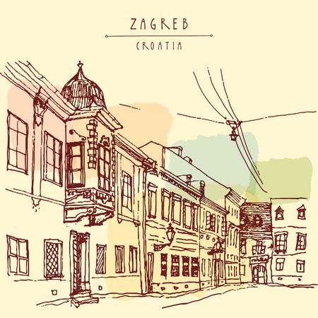 Oude straat in Zagreb, Kroatië, Europa. Vintage hand getekende kaart, vector illustratie