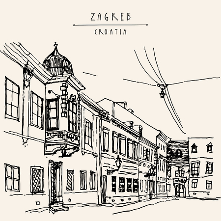 Street in old town of Zagreb, Croatia, Europe. Vintage black and white hand drawn postcard, vector illustration