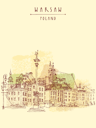 Castle Square in old center of Warsaw, Poland. Historic buildings. Travel sketch, hand lettering. Artistic vintage postcard template, vector illustration