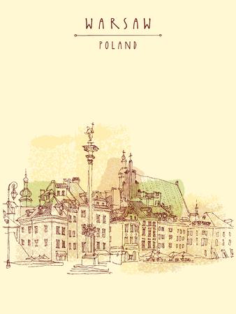 Castle Square in old center of Warsaw, Poland. Historic buildings. Travel sketch, hand lettering. Artistic vintage postcard template, vector illustration