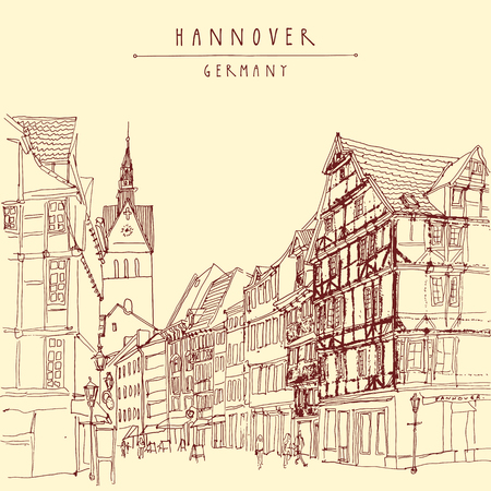belfry: Hanover, Germany, Europe. Pedestrian street with historic traditional German timbered houses and church belfry. Calendar page illustration. Touristic postcard, poster. Hannover Germany hand lettering, vector illustration