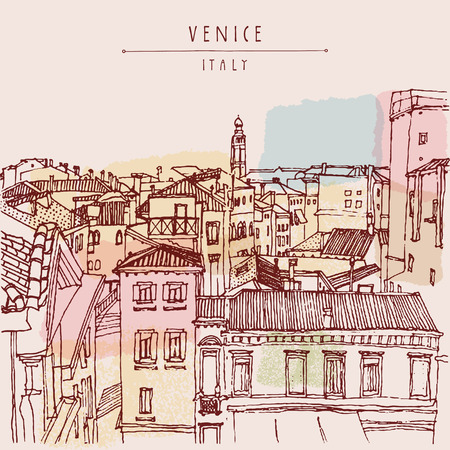 venice italy: Venice, Italy, Europe. Old beautiful houses, roofs, skyline. Above view. Vintage artistic hand drawn postcard or poster template, vector illustration