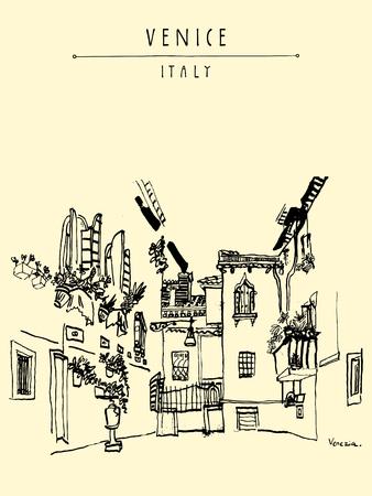 venice italy: Venice, Italy, Europe. Monochromatic vintage hand drawn postcard, vector illustration