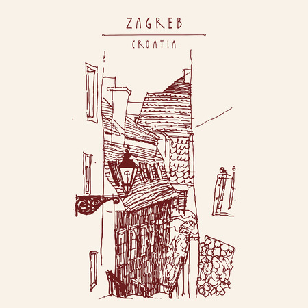Old houses in Zagreb, Croatia, Europe. Vintage hand drawn postcard, vector illustration