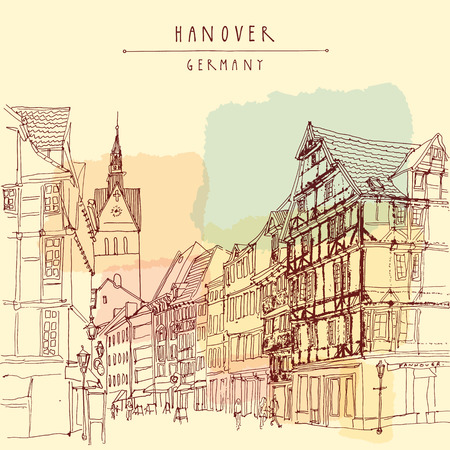 Hanover, Germany, Europe. Pedestrian street with historic traditional German timbered houses and church belfry. Calendar page illustration. Touristic postcard, poster. Hannover Germany hand lettering, vector illustration