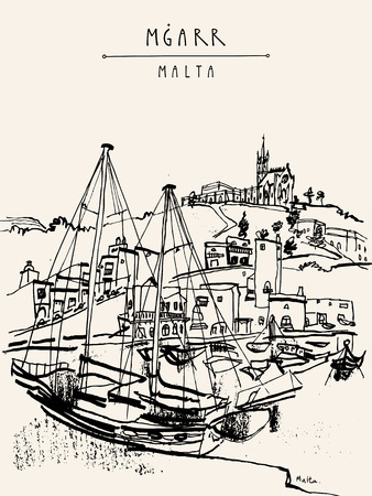 fishing village: Yachts and church in port of Mgarr, Gozo island, Malta. Hand drawn vintage postcard, vector illustration