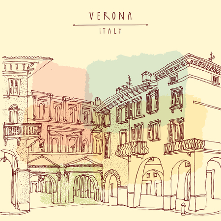 historical romance: Verona, Italian city, Europe. Old historic buildings. Travel sketch. Vintage hand drawn touristic postcard or poster, vector illustration
