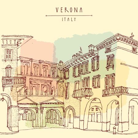 Verona, italienische Stadt, Europa. Alte historische Gebäude. Reise Skizze. Vintage Hand touristische Postkarte oder Plakat, Vektor-Illustration gezeichnet Standard-Bild - 47488335