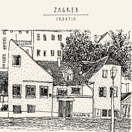 old town: Zagreb, Croatia, Europe. Street in old town. Vintage hand drawn postcard. Vector