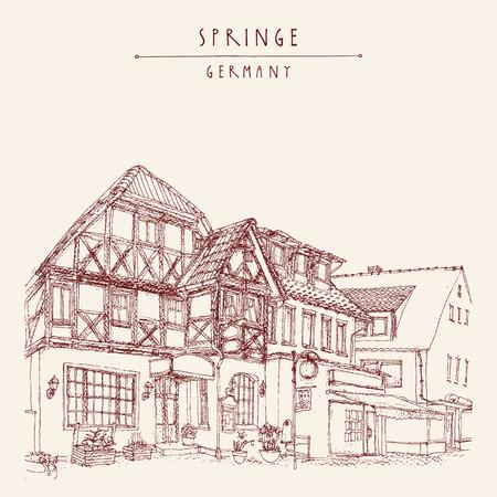 springe: Old town Springe, Germany, Europe. Historical building line art. Freehand drawing. Travel sketch, hand lettering. Vintage postcard, poster template. Vector