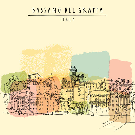 del: Bassano del Grappa, Italy. Panoramic view, waterfront. Italian historic buildings in old town. Retro style postcard, poster template or calendar illustration. Vector Illustration