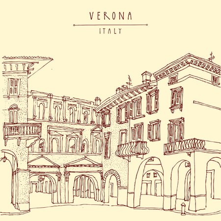 touristic: Italian city, Europe. Old historic buildings. Travel sketch. Vintage hand drawn touristic postcard or poster. Vector Illustration