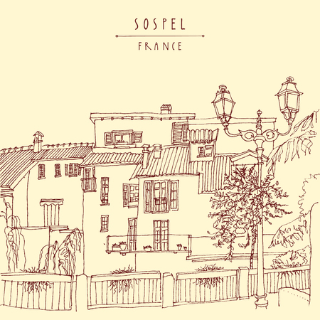 europe: Sospel, France, Europe. River bank, residential houses, lamps and trees. Retro style postcard or poster, coloring book page or calendar illustration. Sospel, France hand lettering. Vector Illustration