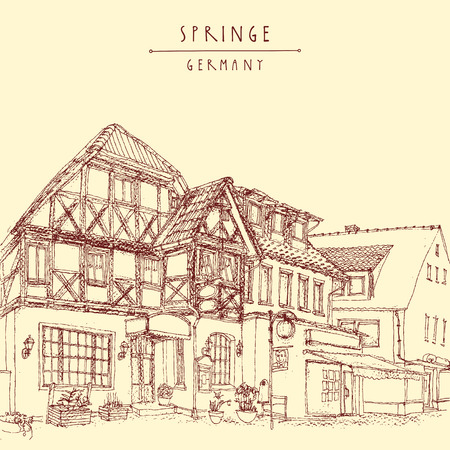 historical building: Old town in Springe, Germany, Europe. Historical building line art. Freehand drawing. Travel sketch, hand lettering. Vintage postcard, poster template