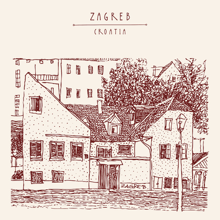 vintage postcard: Old houses in Zagreb, Croatia, Europe. Vintage hand drawn postcard. Vector