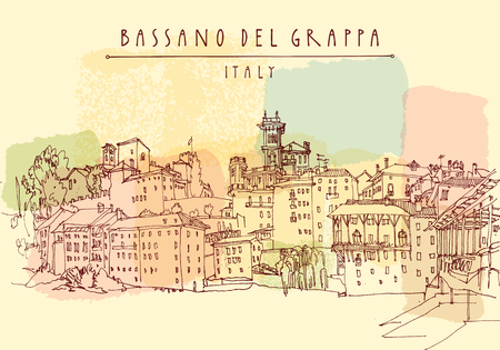 Beautiful waterfront buildings in Bassano del Grappa, Italy, Europe. Vintage hand drawn postcard in vector