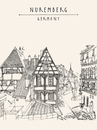 timbered: Nuremberg, Germany, Europe. Old town, historic traditional German timbered houses. Coloring book or calendar page illustration. Black and white vertical touristic postcard or poster. Vector Illustration