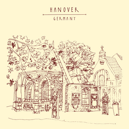 grave stone: Abandoned Gothic church ruins and old cemetery in Hanover, Germany, Europe. Freehand drawing. Line art. Travel sketch with hand lettering. Vintage postcard illustration template. Vector