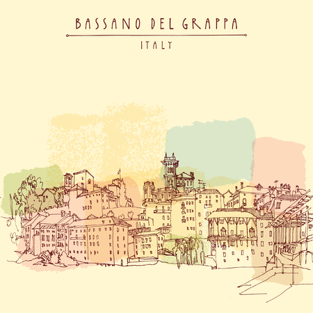 Bassano del Grappa, Italy. Panoramic view, waterfront. Italian historic buildings in old town. Retro style postcard, poster template or calendar illustration. Vector Ilustração