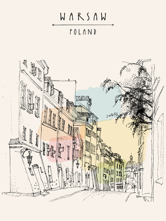 warsaw: A street in old center of Warsaw, Poland, Europe. Historical buildings line art. Travel sketchy drawing, hand lettering. Vintage postcard, banner template. Vector