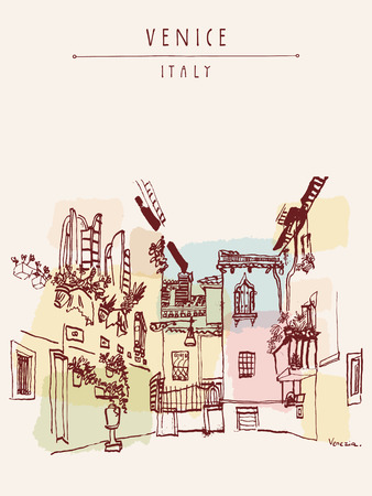 Beautiful courtyard in Venice, Italy, Europe. Colored vintage hand drawn postcard in vector