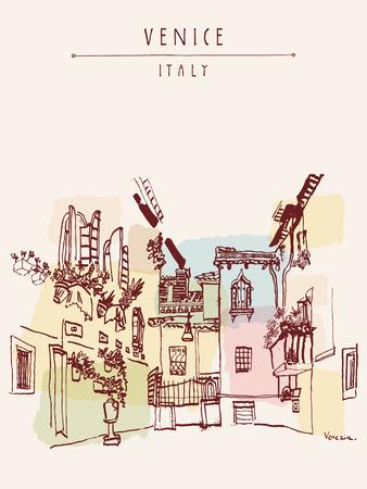 Schöner Hof in Venedig, Italien, Europa. Farbige Vintage Hand gezeichnete Postkarte in Vektor Standard-Bild - 47488520