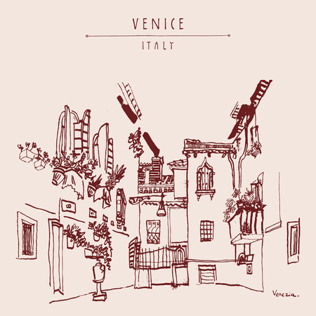 mediterranean homes: A beautiful courtyard in Venice, Italy, Europe. Monochromatic vintage hand drawn postcard. Vector