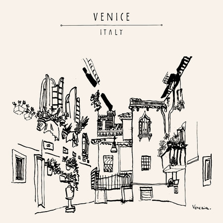 front of house: Venice, Italy, Europe. Black and white vintage hand drawn postcard. Vector