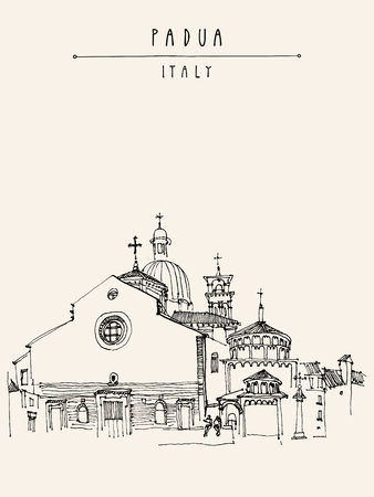 historical building: View of Padua Cathedral in Padua, Veneto, Italy. Historical building. Line art. Black and white freehand drawing. Travel sketch. Postcard template. Vector