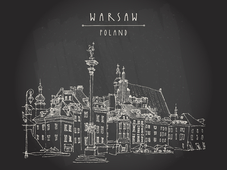 Castle Square in old center of Warsaw, Poland. Historic buildings. Travel sketch, hand lettering. White chalk on black board. Black and white vintage postcard template. Vector Illustration
