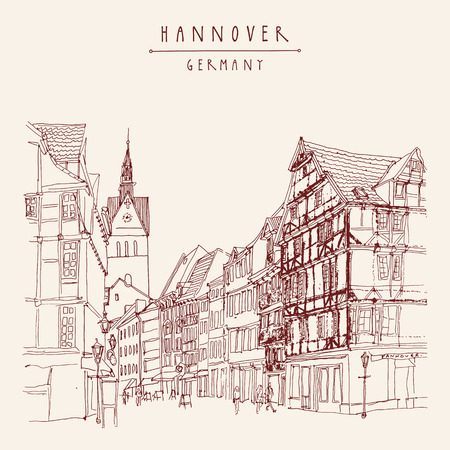 belfry: Hanover, Germany, Europe. Pedestrian street with historic traditional German timbered houses and church belfry. Calendar page illustration. Touristic postcard, poster. Hannover Germany hand lettering. Vector Illustration