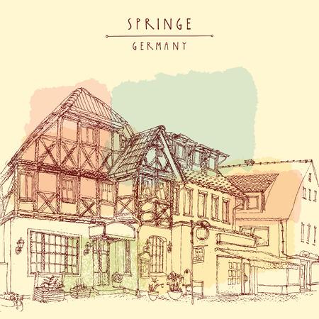 springe: Old town Springe, Germany, Europe. Historical buildings. Line art vector. Freehand drawing. Travel sketch, hand lettering. Vintage postcard, poster template