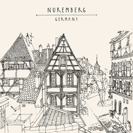 vintage timber: Nuremberg, Germany, Europe. Old town view with historic traditional German timbered houses. Coloring book or calendar page illustration. Black and white touristic postcard, poster, hand lettering. Vector