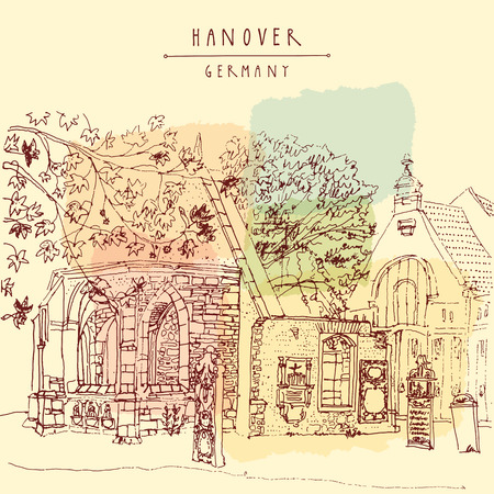 grave stone: Abandoned church ruins and old cemetery in Hanover, Germany, Europe. Freehand drawing. Line art. Travel sketch with hand lettering. Vintage postcard illustration template. Vector