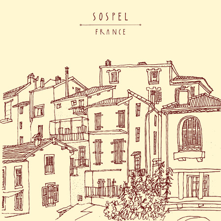 europe: Sospel, France, Europe. Residential houses. Retro style postcard or poster, coloring book page or calendar illustration with hand lettering. Vector
