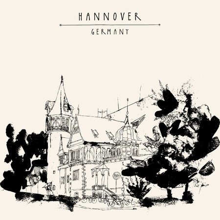 mansion: Hanover, Germany, Europe. A beautiful old mansion and trees. Black and white touristic postcard, poster. Hannover Germany hand lettering. Vector