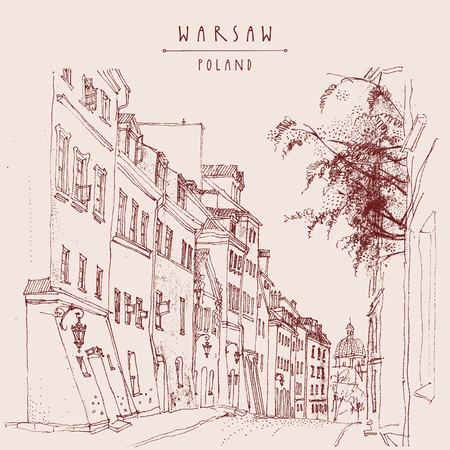 A street in in old center of Warsaw, Poland, Europe. Historic buildings. Travel sketchy drawing, hand lettering. Vintage postcard, banner template. Artistic hand drawn illustration. Vector