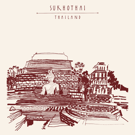 sculptures: Ruins of an ancient Buddhist temple with sculptures of The Sitting Buddhas in Sukhothai historical park, Thailand. Hand drawn vintage artistic postcard