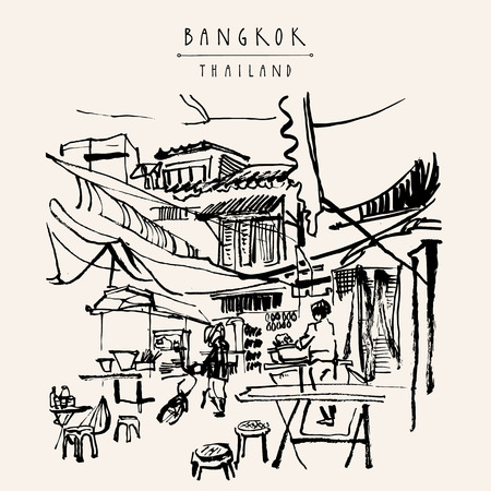 street: China town in Bangkok, Thailand. Food stalls, tables, stools. People buying Chinese food in a simple street cafe. Vintage hand drawn postcard
