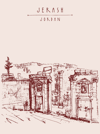 ancient roman: Ancient Roman city of Jerash, Jordan, Middle East. Vintage artistic hand-drawn postcard, poster template or book illustration in vector Illustration
