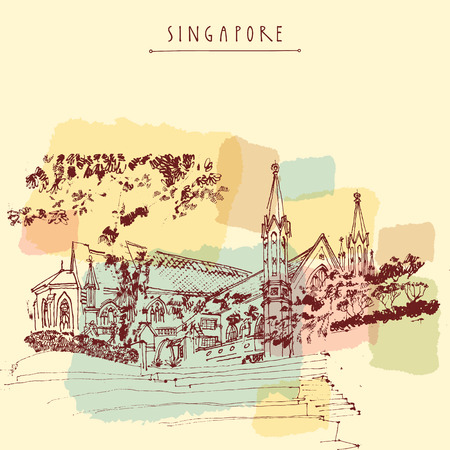 singapore: St Andrews Cathedral, Singapore. Travel hand drawn postcard or poster with hand lettering