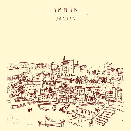Capital city of Amman, Jordan, Middle East. Historical place, ancient Roman amphitheater. Vintage artistic hand drawn postcard, poster template or book illustration in vector