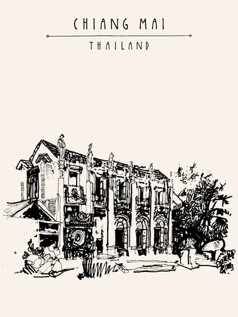 chiangmai: Chiang Mai, Thailand, Asia. Nice eclectic style building with reliefs and sculptures. Vintage hand drawn postcard template or book illustration in vector