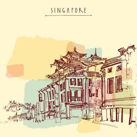 シンガポール中華街を描きます。ヴィンテージ旅行はがきまたは手レタリング ポスター