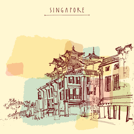 singapore city: Singapore China town drawing. Vintage travel postcard or poster with hand lettering