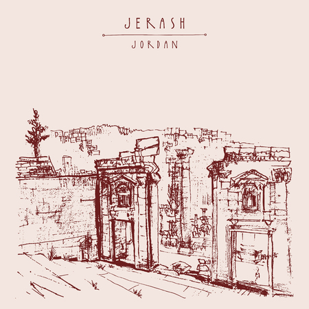 ruins: Ancient Roman city of Jerash, Jordan, Middle East. Vintage artistic hand-drawn postcard, poster template or book illustration in vector Illustration